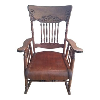 Vintage Hand Carved Rocking Chair