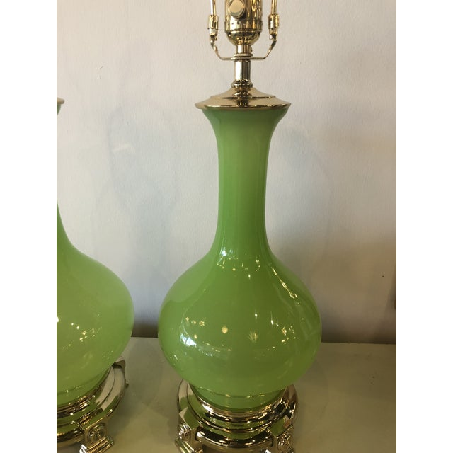 Brass Vintage Paul Hanson Green Opaline Glass Brass Base Table Lamps - A Pair For Sale - Image 7 of 13