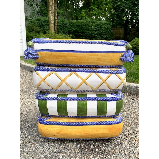 1970s Italian Trompe l'Oeil Stacked Pillow Teracotta Garden Seat For Sale In New York - Image 6 of 10