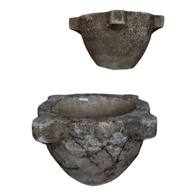 Pair of French Country Rustic Concrete Garden Flower Planters For Sale