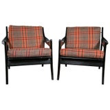 Image of Danish Plaid & Ebonized Armchairs - A Pair For Sale