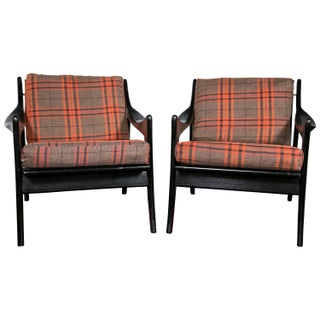 Danish Plaid & Ebonized Armchairs - A Pair