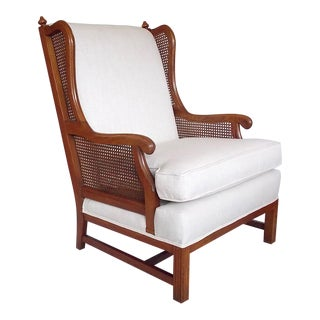 1960s Vintage Cane Wingback Chair For Sale