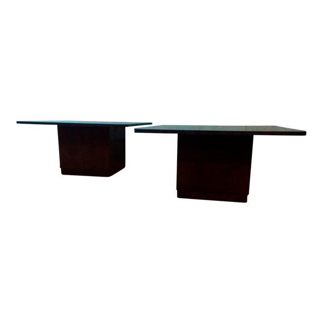 Vintage Slate & Walnut Coffee Tables - A Pair - Image 1 of 5