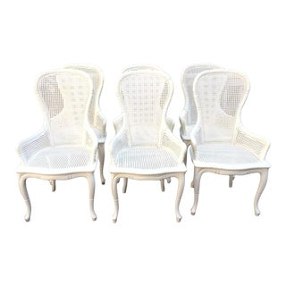 Vintage Mid Century Grange French Caned Arm Chairs - Set of 6 For Sale