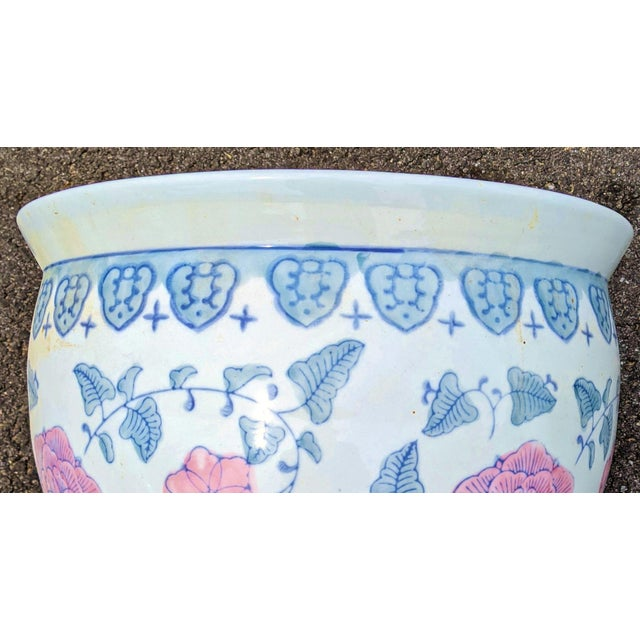 Ceramic 20th C Chinese Painted & Glazed Porcelain Roses Floral Fish Bowl Planter For Sale - Image 7 of 11