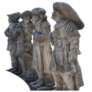 20th Century Harlequinade Statues in Limestone - Set of 4 For Sale