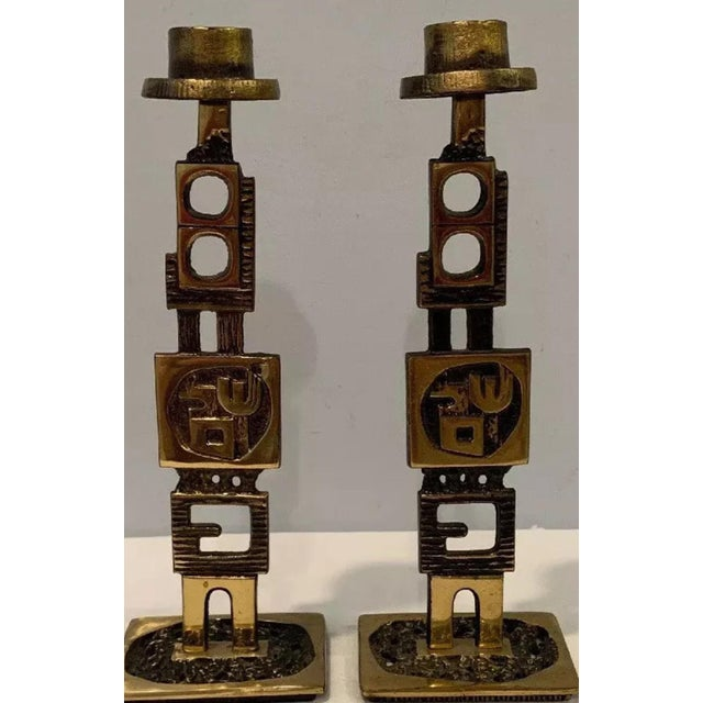 Abstract 1960s Mid-Century Modern Brutalist Jewish Sabbath or Daily Candleholders - a Pair For Sale - Image 3 of 12