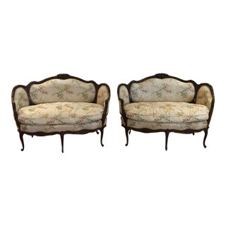 Satin Multi Color Flower Embroidered Love Seats - A Pair For Sale