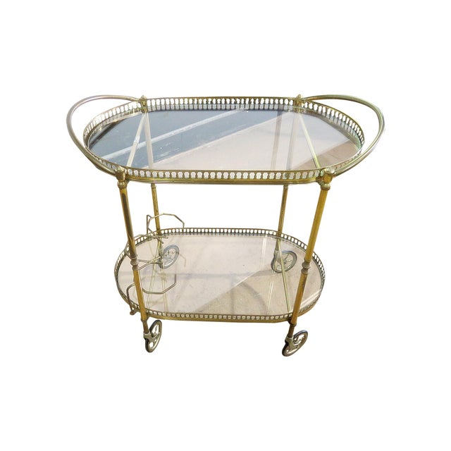 Mid 20th Century Italian 2 Tier Brass Bar Cart For Sale - Image 5 of 5
