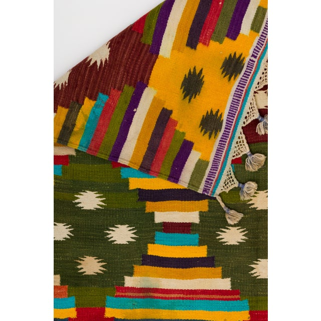 Mid 20th Century Multi-Color Striped Cotton Indian Dhurrie Rug For Sale - Image 5 of 8