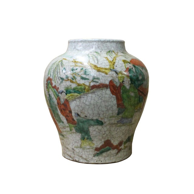 Chinese Handmade Gray White Crackle Base People Graphic Ceramic Pot Jar For Sale In San Francisco - Image 6 of 9