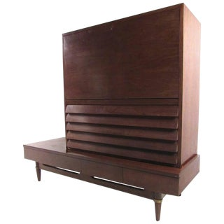 American of Martinsville Two Piece Walnut Dresser