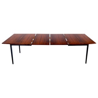 Danish Mid-Century Modern Boat Shape Rosewood Dining Table 2 Boards Leafs For Sale