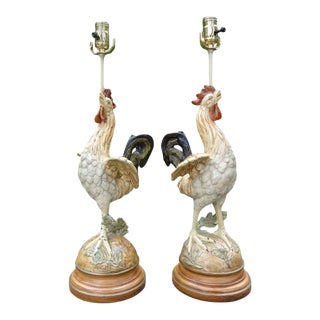 Antique French Cast Iron Rooster Lamps-A Pair For Sale