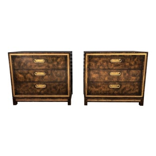 Mid Century Mastercraft Burl and Brass Chests of Drawers- a Pair For Sale