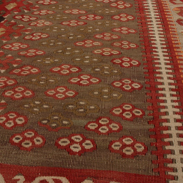 Rug & Kilim Vintage Kayseri Red and Brown Wool Kilim Rug For Sale - Image 4 of 9