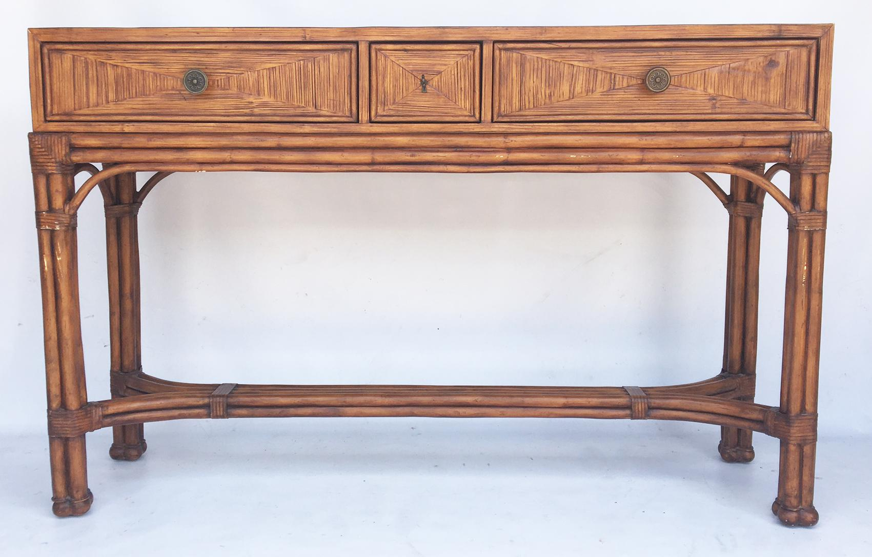 Beau Boho Chic Ethan Allen Burnt Bamboo Rattan 3 Drawer Console Table For Sale    Image 3