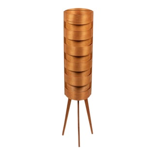 1960s Hans-Agne Jakobsson Wood Tripod Floor Lamps for Ab Ellysett For Sale