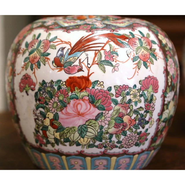 Ceramic Mid-Century Chinese Famille Rose Porcelain Melon Jars - a Pair For Sale - Image 7 of 11