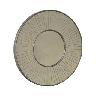 Round Silver Gilt Frame Sunburst Wall Mirror by Renwil For Sale