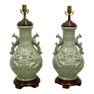 Pair of Large Scale Asian Celadon Table Lamps For Sale