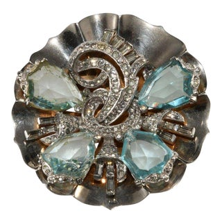 Mazer Aqua Blue Shield Rhinestones Brooch Pin 1940s Vintage Sterling Silver For Sale