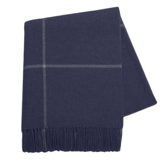 Navy/Ecru Windowpane Cashmere Throw For Sale
