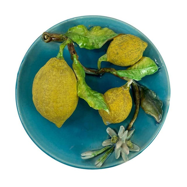 Menton French Majolica Barbotine wall plaque on a turquoise ground with lemons molded in high relief, circa 1880, with...