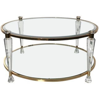 Two-Tier Round Lucite Coffee Table Style of Charles Hollis Jones