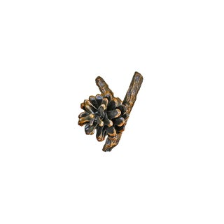 Lodgepole Pine Cone Horizontal Y Branch Pull with Traditional Patina For Sale