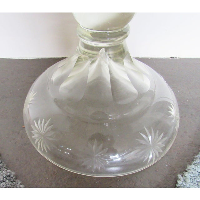 """Pair 30"""" Tall Cut Crystal Glass Lidded Apothecary Jars For Sale - Image 6 of 11"""