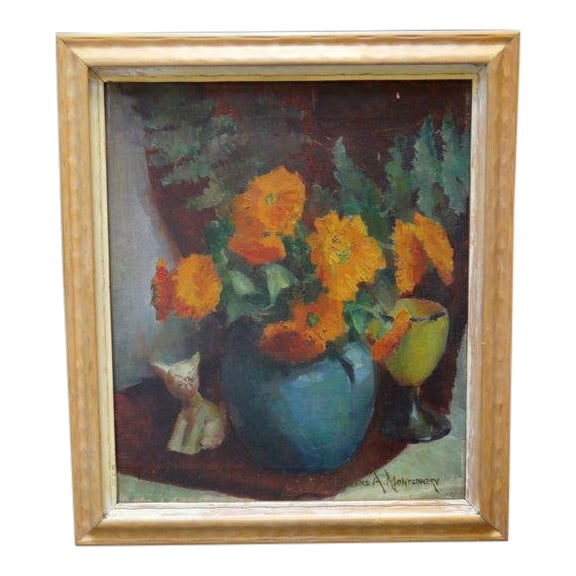 """Chrysanthemums"" Still Life Painting by Eugene A Montgomery For Sale"