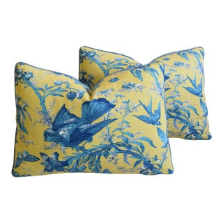 "Blue Birds & Butterflies Feather/Down Pillows 23"" X 17"" - Pair For Sale"