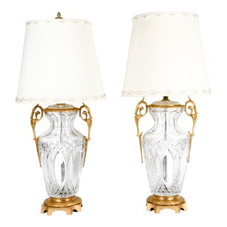 Early 19th Century Bronze-Mounted and Cut Crystal Table Lamps - a Pair For Sale