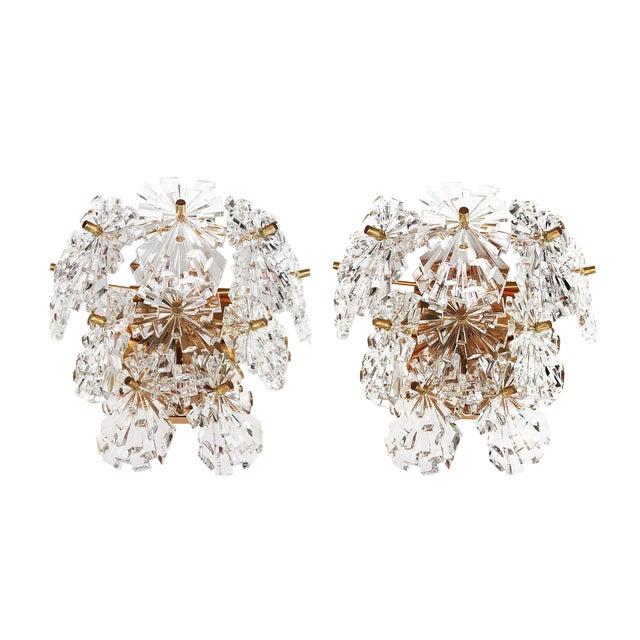 1970s Germany Kinkeldey Starburst Wall Sconces Crystals & Gilt-Brass - a Pair For Sale
