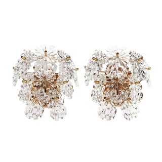 1970s Germany Kinkeldey Starburst Wall Sconces Crystals on Gilt-Brass - a Pair For Sale