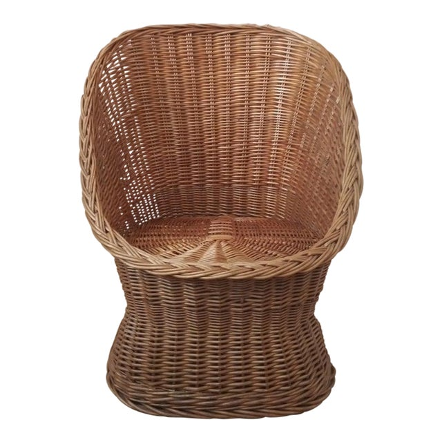 Vintage Wicker Pod Chair For Sale
