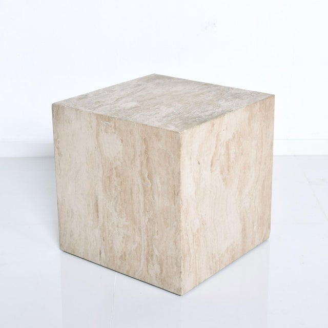 Mid-Century Modern Travertine Cube Side Table For Sale - Image 9 of 9