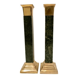Marble and Brass Candlesticks / 2 For Sale
