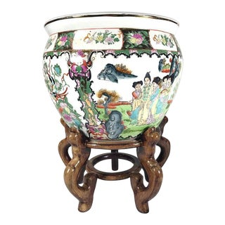 Chinese Porcelain Fish Bowl Planter With Stand