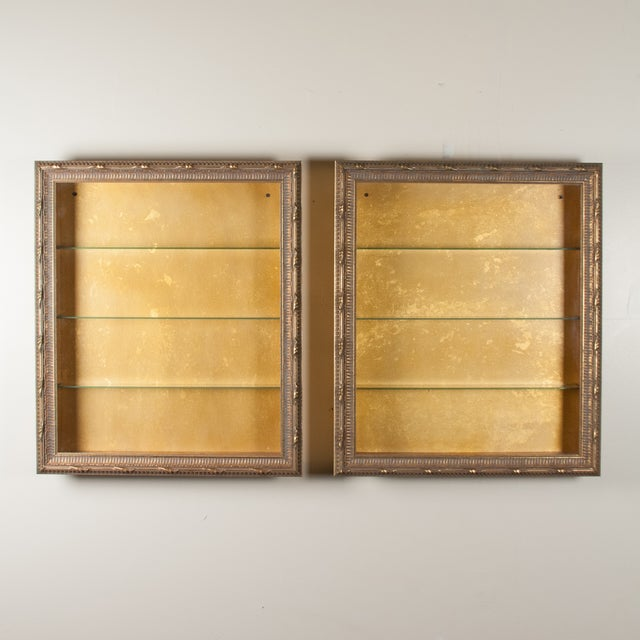 Wall-Mounted Giltwood Vitrines - Pair For Sale In New York - Image 6 of 9