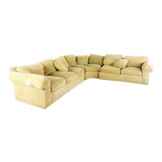 Baker Furniture Contemporary Velvet Upholstered Sectional Sofa For Sale