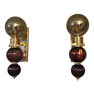 Pair of Italian Midcentury Style Grey and Purple Murano Sconces For Sale