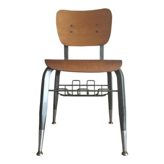 Vintage Quadraline Wood and Metal Desk Chair