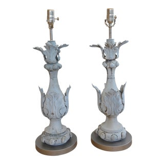 Leaf Motif Zinc Finial Lamps - a Pair For Sale