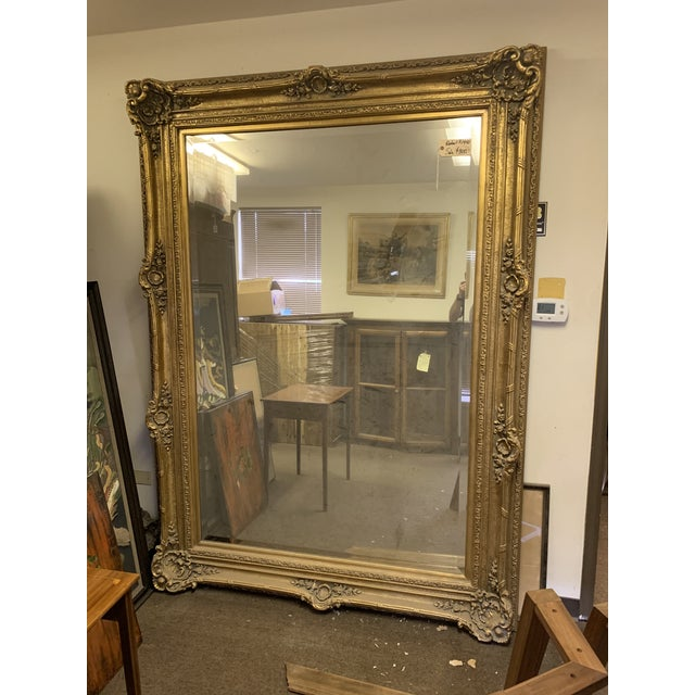 French Louis XIV Style Gold Leaf Beveled Glass Mirror For Sale - Image 3 of 11