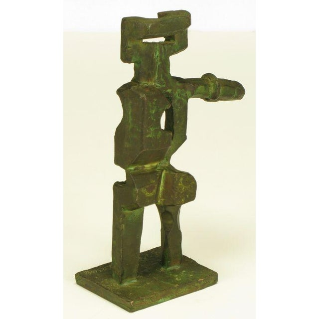 Pair Bronze Male & Female Abstract Sculptures, Signed. - Image 5 of 10