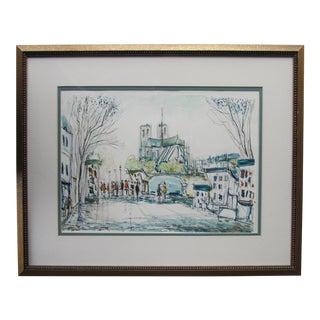 Vintage Paris Watercolor Painting of Notre Dame Framed For Sale
