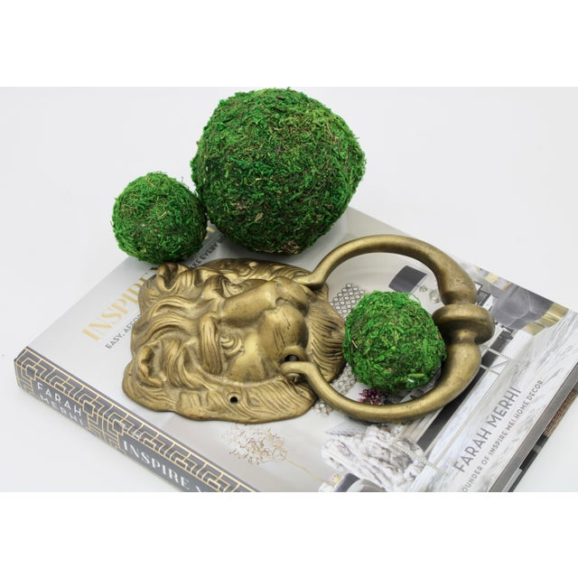 Vintage Lions Head Brass Door Knocker For Sale - Image 10 of 11